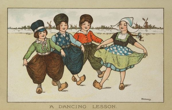 A dancing lesson. A young girl instructs three other young boys how to dance