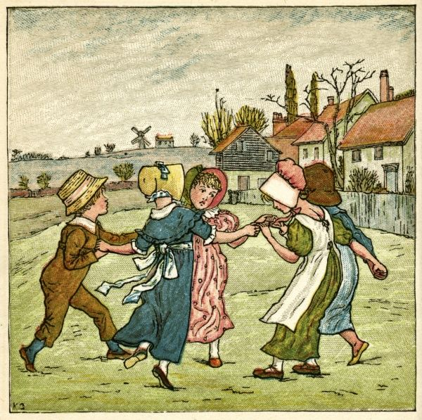 Children dancing in a ring on a village green.  1880