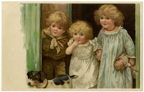 Three expectant-looking children and their dog look out of a doorway. Date: circa 1900