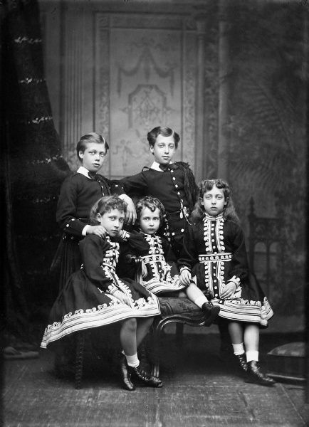 Photographic study of the five children of Edward VII and Queen Alexandra, taken while Edward was still Prince of Wales. The children, from left are: the Duke of York (later George V), Louise, the Princess Royal (later Duchess of Fife), Queen Maud of Norway