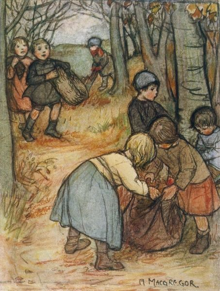 Children in the autumn woods, gathering fir cones and leaves in a sack