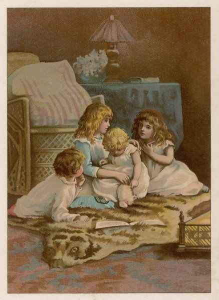 Two girls, a boy and a toddler sit on a fur rug at the fireside: it's nearly bedtime