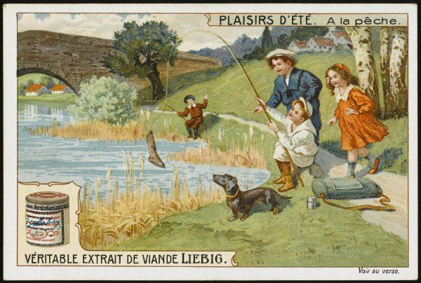 Children fishing in a stream: all they have caught so far is an old boot