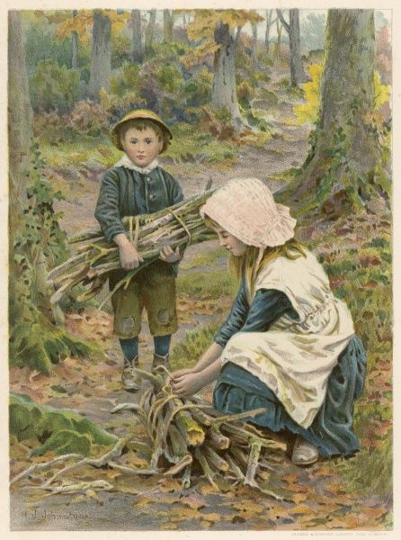 Brother and sister go into the woods to collect firewood