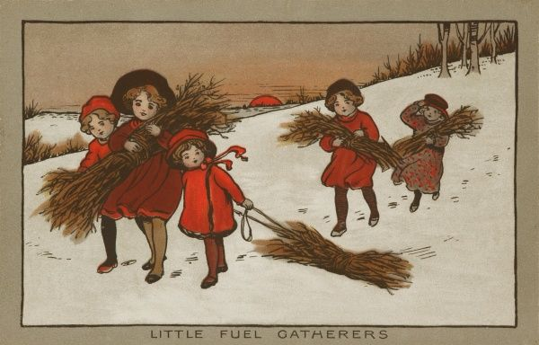 Little fuel gatherers. A quintet of children gathering firewood in a winter landscape