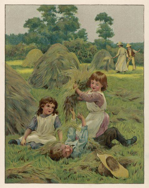Two girls and a boy playing in a hayfield on a summer's day