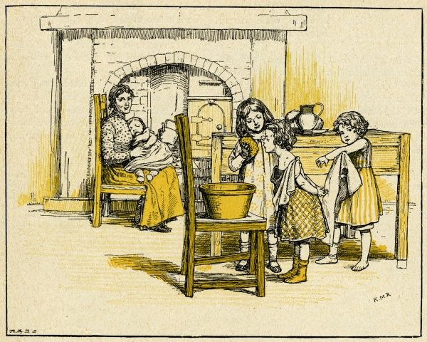 Three children helping their mother in the kitchen, washing each other from a large bowl on a chair.  1900