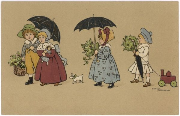 Two boys and two girls with holly and umbrellas: one girl carries a doll, a boy pulls a toy train