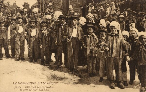 Children in traditional local costume of Normandy, France at a fete or local ceremonial occasion. Date: circa 1910s