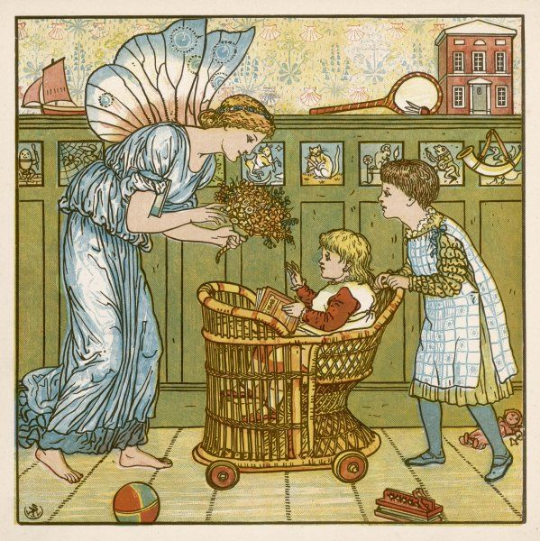 Two children in the nursery: baby is having a ride in a wicker pushchair