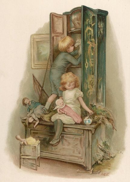 A boy and girl in the nursery: the girl feeds her doll while her brother retrieves his horse from the toy cupboard