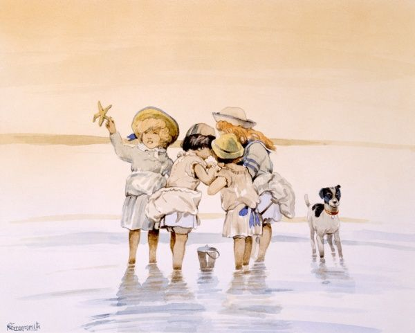 Four young girls paddling at the edge of the sea and examining the crabs and starfish they have found in the shallow water and placed in their buckets. Painting by Malcolm Greensmith