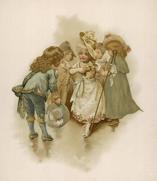 Children in fancy dress costume, greeting each other at a party