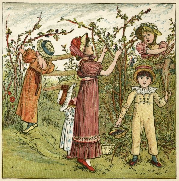 Five children picking blackberries.  1880