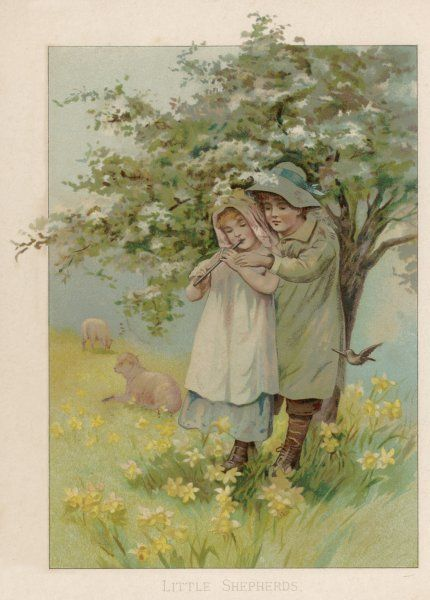 A little shepherd boy teaches a girl to play a pipe in the meadow, to keep the lambs entertained
