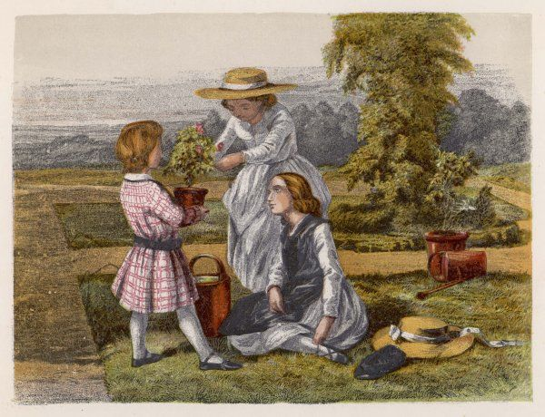 Three children with potted plants in a garden on a summers day