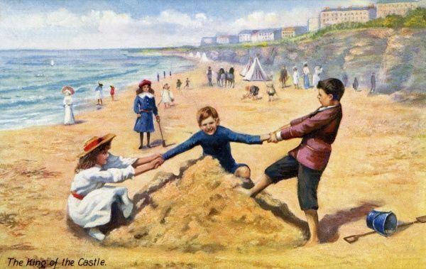 Children playing on a sandy beach. Artist: Anon. Painting entitled King of the Castle Date: circa 1920