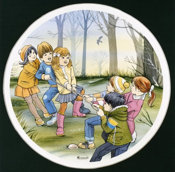 Six children play a mixed game of tug-of-war in the woods. Ink drawing with watercolour washes by Malcolm Greensmith