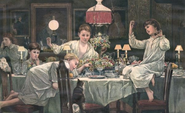 Six children in their night clothes raid the dessert in the dining room while no adults are around. Date: 1885