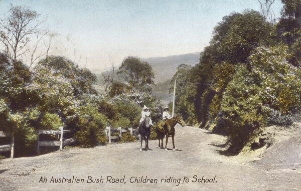 Children ride to school along an Australian Bush Road, Tasmania. Date: 1908