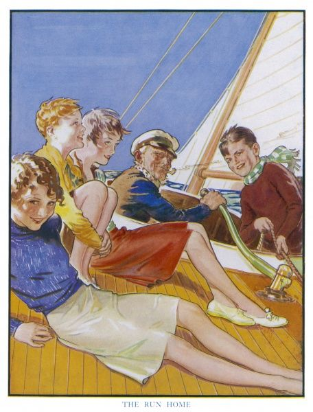 A group of children and an old sailor enjoy a nautical outing in a small sailing boat