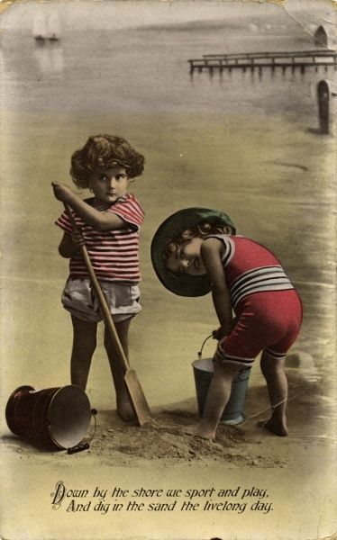 'Down by the shore we sport and play, and dig in the sand the livelong day.' Date: 1911