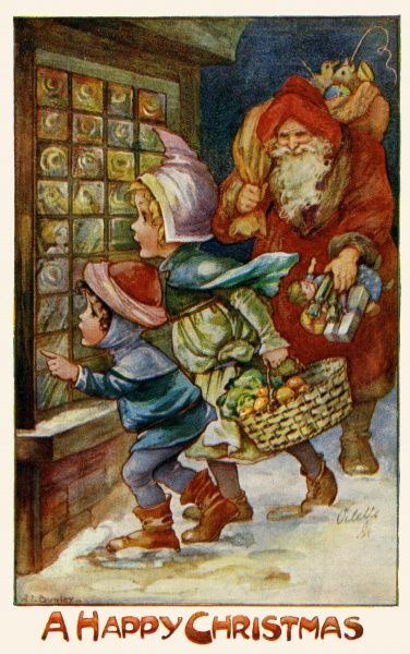 Two children gazing through a shop window, watched by Santa Claus with his sack of presents.  early 20th century