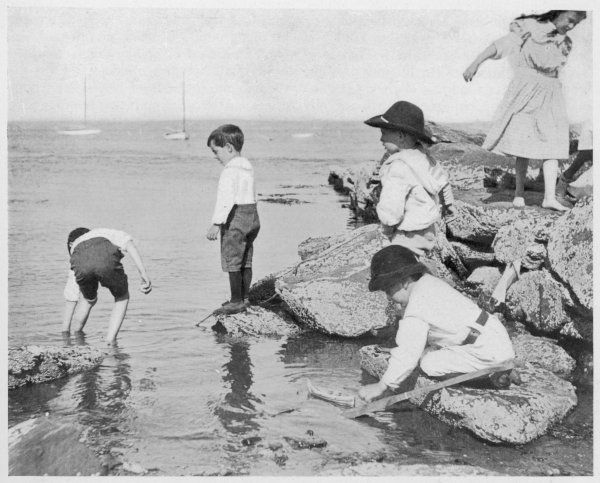 Children paddling and climbing on rocks on the beach. Date: 1903