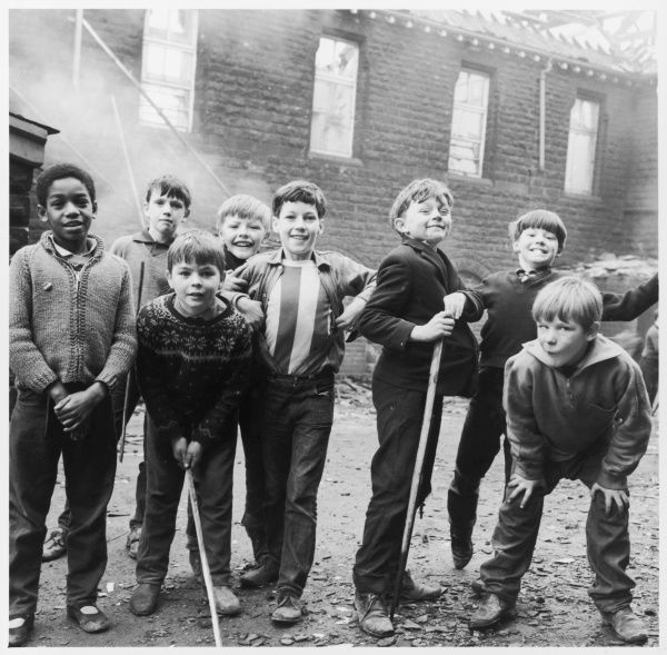 Working class children playing together in Sheffield