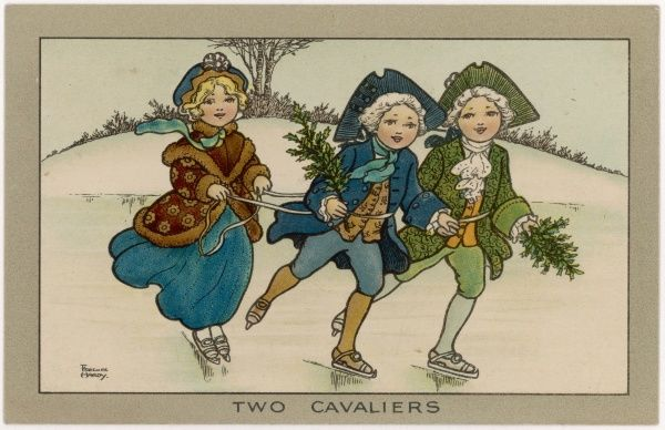 Two 'cavalier' boys tow a little girl on the ice