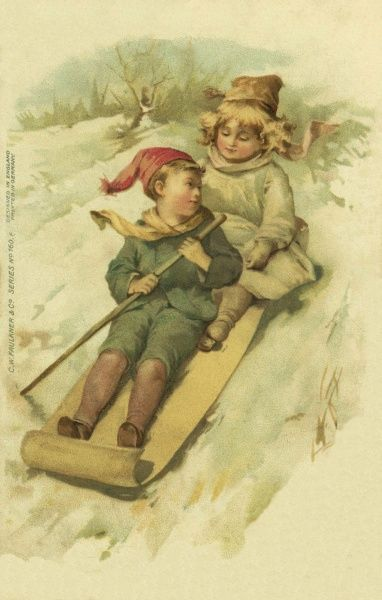 Two children on a sleigh, sliding down a snowy slope.  circa late 19th century