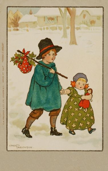 Two children trudge through the snow. A boy in a smock and black hat carries a bundle of holly on a stick while a small girl holds his hand and hugs her toy doll close
