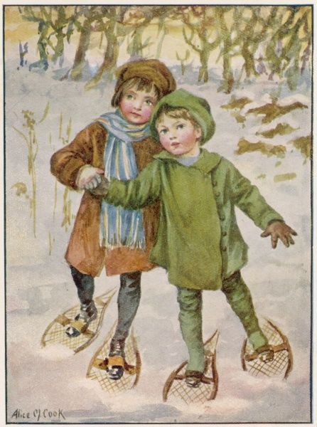 Two children make their way through the snow wearing snow shoes on their feet