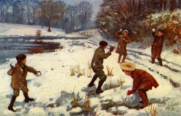 Five children snowballing in the countryside.  20th century