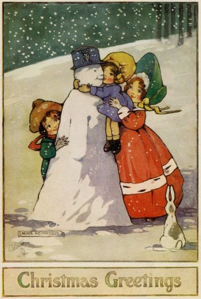 Three children and a snowman, watched by a rabbit.  early 20th century