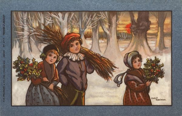 Three children in a snowy landscape. The two girls are carrying bunches of holly, while the boy is carrying a large supply of firewood on his shoulder