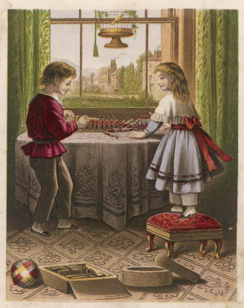 Children play with their toy soldiers on a table in front of the window
