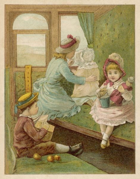 Four children on their way to the seaside in the train