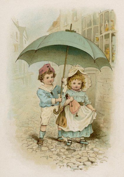 A little boy and girl shelter from the sun under a large umbrella