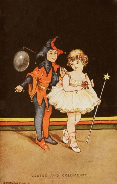 Two children dressed up for a fancy dress party; one as a jester holding a balloon and another as a Columbine complete with a star topped wand