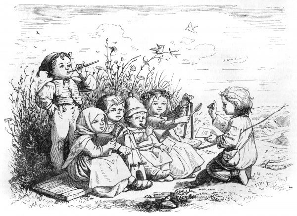 Demonstrating the love of music that is innate in all human creatures, these six children have formed an impromptu orchestra and are making music together... Date: 1871