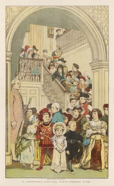 Children going downstairs to a Christmas costume party
