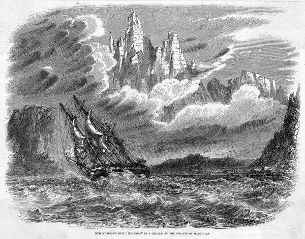 Her Majesty's ship 'Meander' in a squall in the Straits of Magellan
