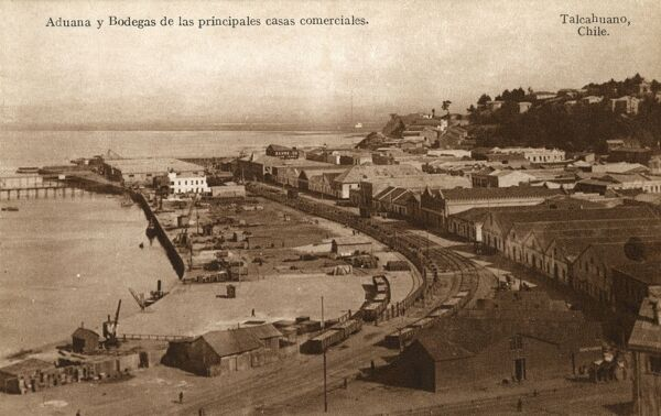 Chile - Talcahuano - Harbour, Customs buildings and Warehouses of the Major Commerical concerns of the region. Date: circa 1910s