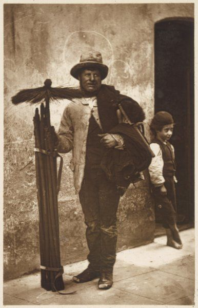 A chimney sweep and his brushes. Date: 1877