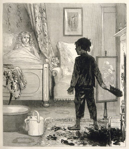 A sweep comes down the wrong chimney and finds himself in a girl's bedroom (scene from Kingsley's 'The Water Babies')