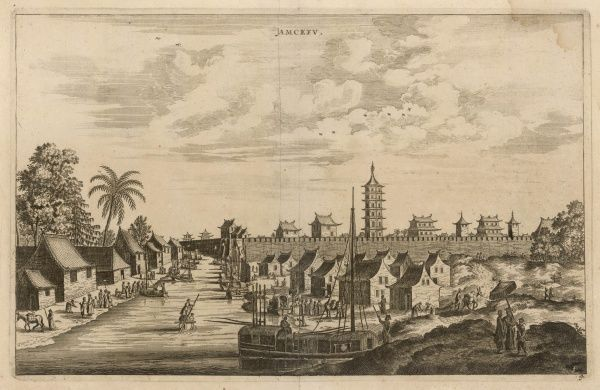 The town of Jamcefu viewed from the river, with boats. We have not been able to identify this with anypresent- day town