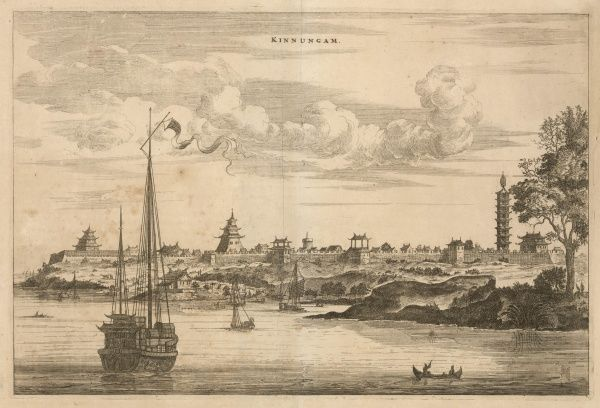 A distant view of Kinnungam with its fortifications and pagoda : but unfortunately we have not been able to identify it with any modern city