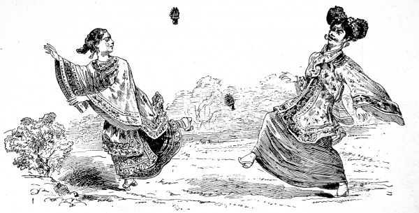 Engraving showing two Chinese girls in traditional dress playing with shuttlecocks; keeping them in the air only using their feet