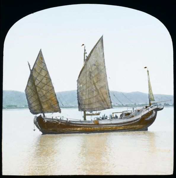 A two-masted Chinese junk